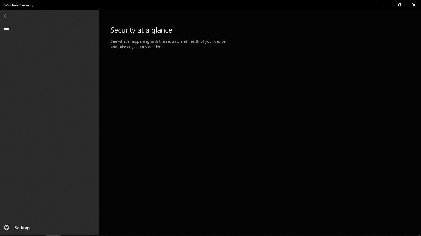 A blank screen on the windows defender settings. 58d63d02-3b84-4982-99df-87f7c0144938?upload=true.jpg