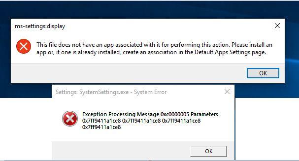 System settings app,Display settings app, Microsoft store