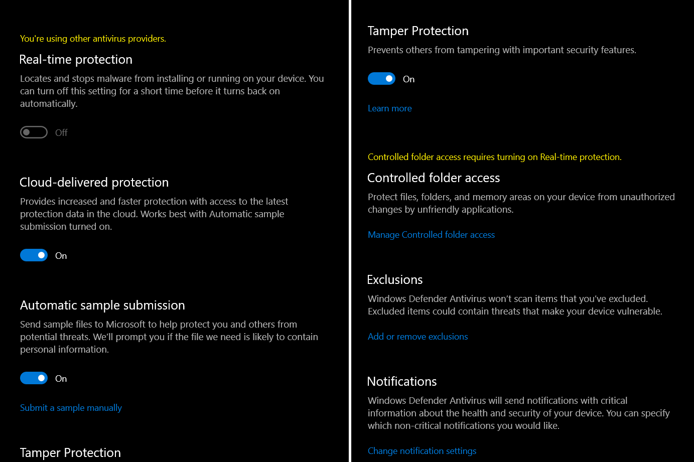 Windows 10 Security Center Issues with Other Providers and Itself. 5cd81981-4b8c-43d4-9f5e-d1849dd46c93?upload=true.png