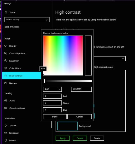 Windows 10 1903 High Contrast Black With Modified Background Color Breaks In Some Apps 5e1ae52b-4eec-4cc1-9d40-2001679d74ec?upload=true.jpg