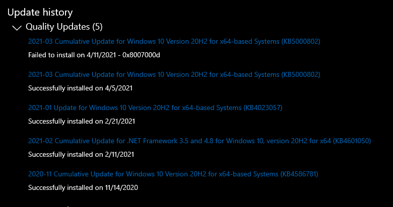 Cannot uninstall KB5000802, Windows says it's not installed yet it is. 661dd92d-e33a-4853-a202-de847e3d60a8?upload=true.png