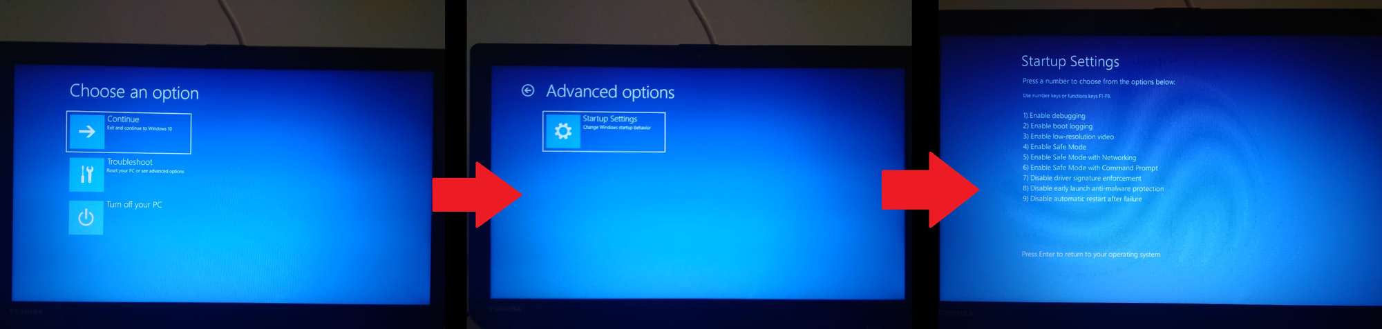 My Windows 10 advanced startup doesn't show the regular options