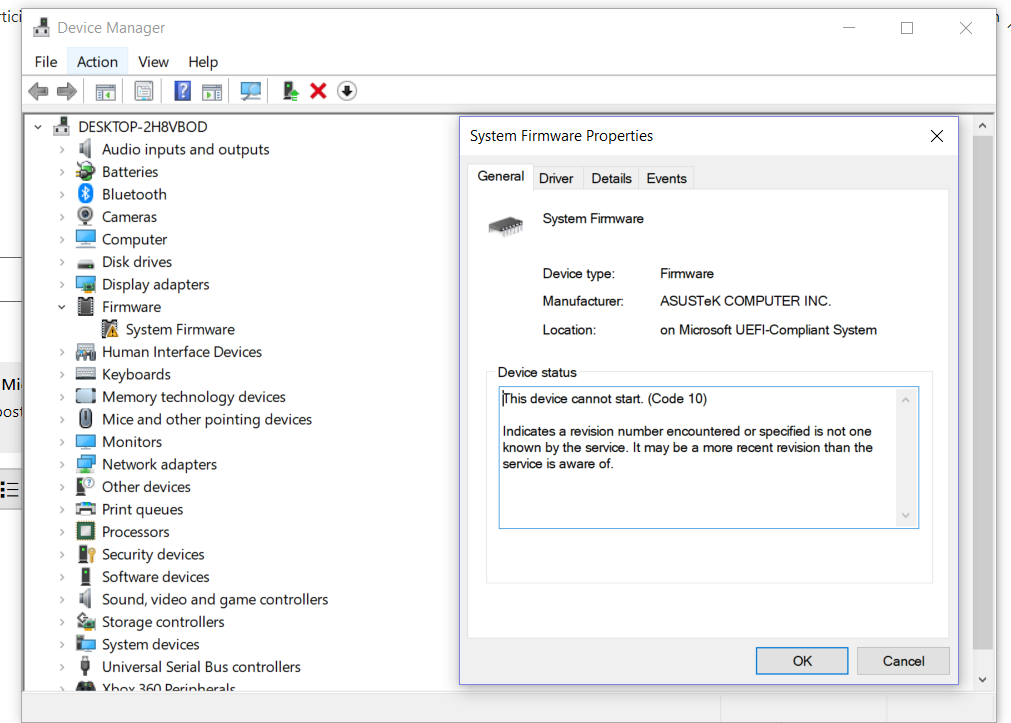 System firmware in device manager has a code 10 error message