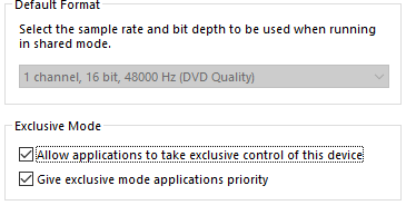 Sample rate and bit depth unchangeable