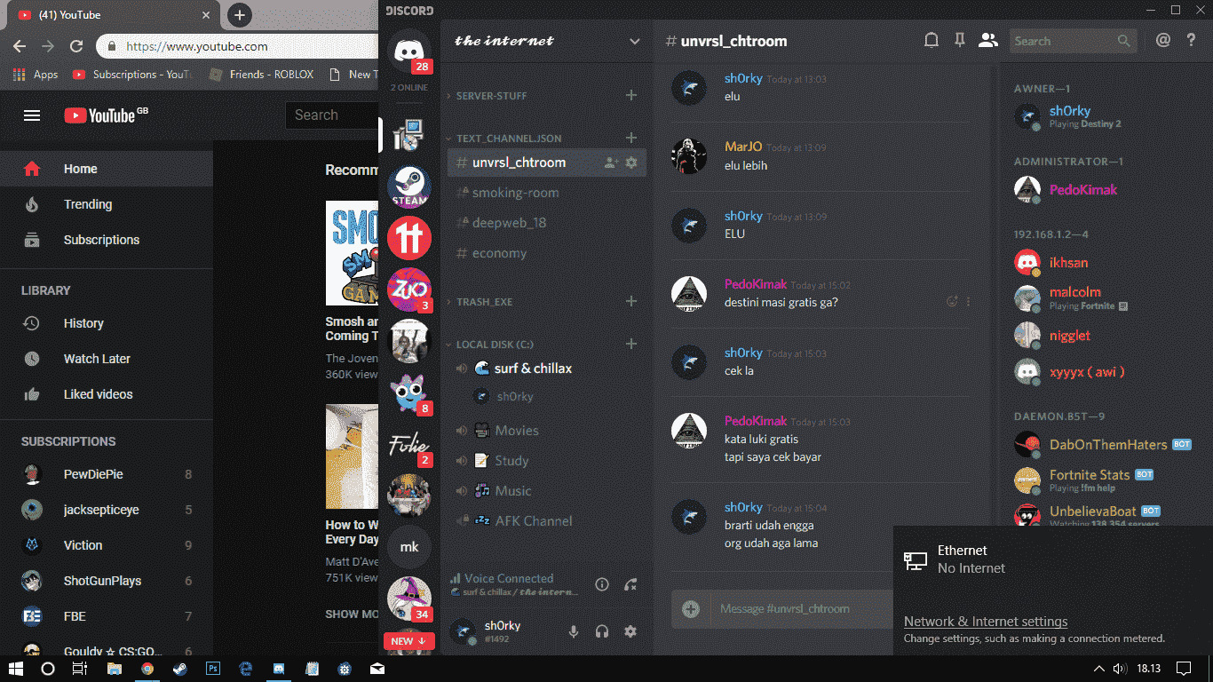 Ethernet (No Internet) but i can browse, watch youtube, discord