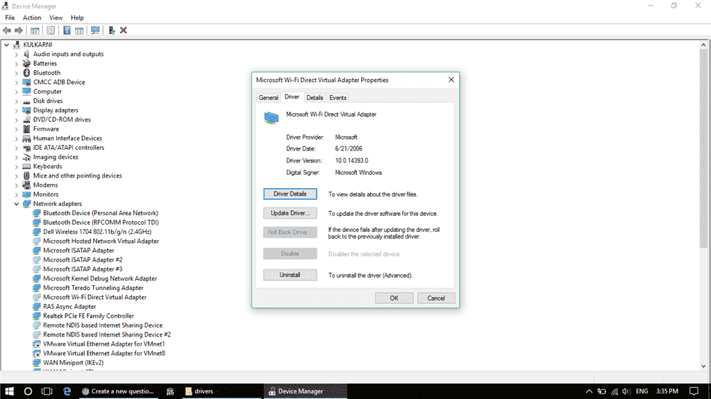 Can not enable Microsoft Wifi Direct Virtual Adapter