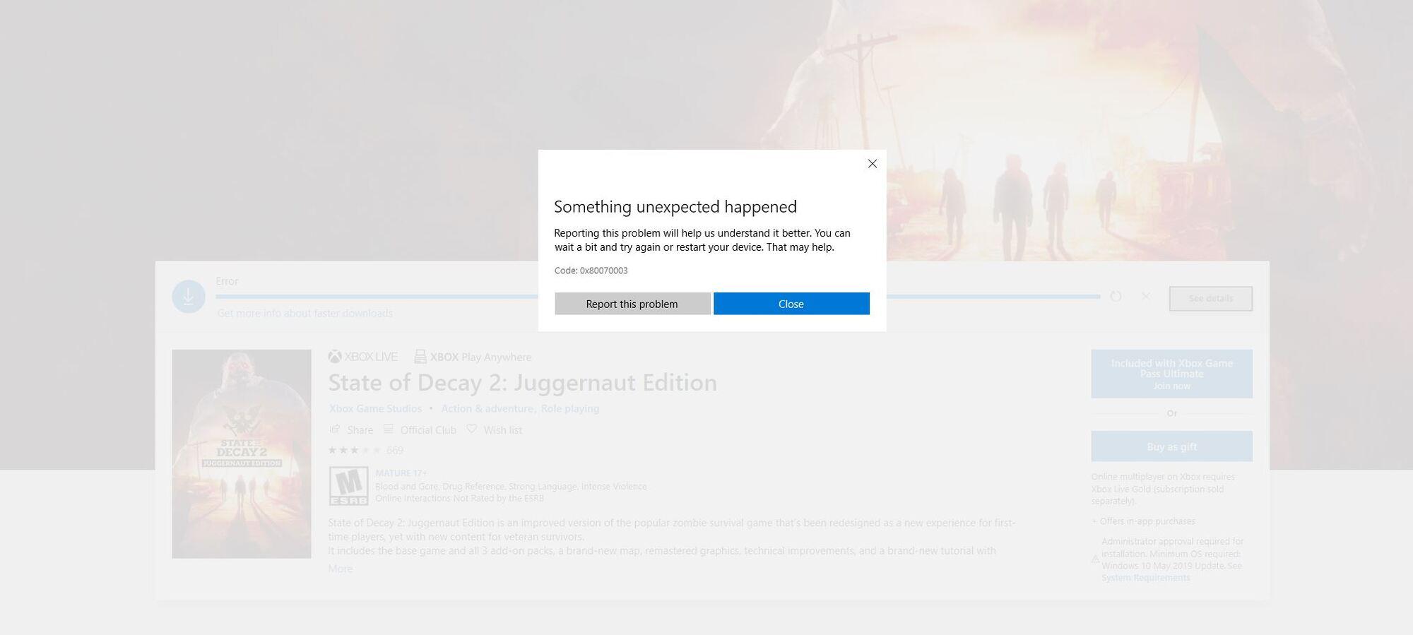 State of Decay 2 Juggernaut Edition - Can't play it after first machine restart unless I... 6feda2a6-37fd-4ba2-bbce-5593026b6e15?upload=true.jpg