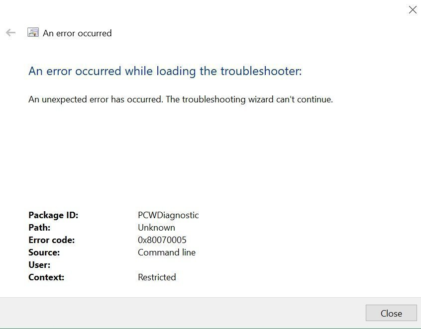 The troubleshooting wizard can not continue  Error code