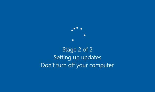 Stage 2 of 2 Setting up updates - Windows 10 Citrix desktops
