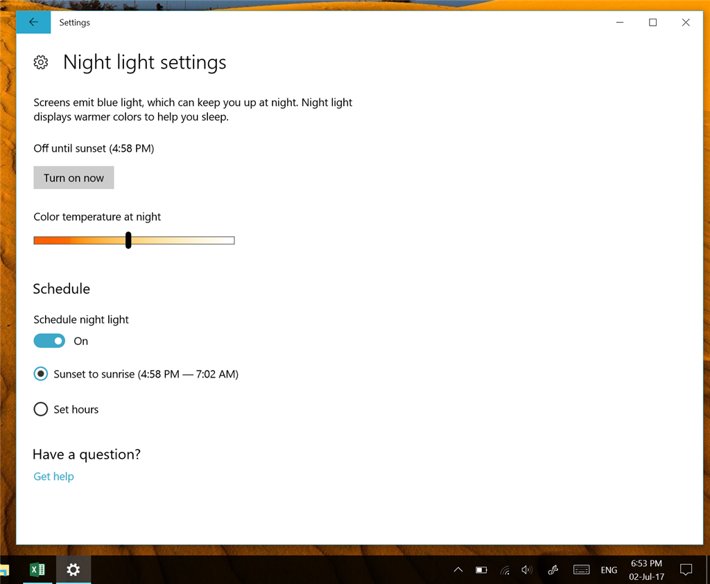 Windows 10 Night Light on after sunrise 75ffb676-3c58-4a2f-832c-0e5420896009.png