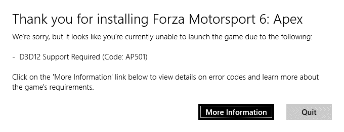I can't run forza motorsport 6 because my DirectX version is not high enough but it is. 76a24759-9ca1-446f-bf81-9bfbec7701e9?upload=true.png