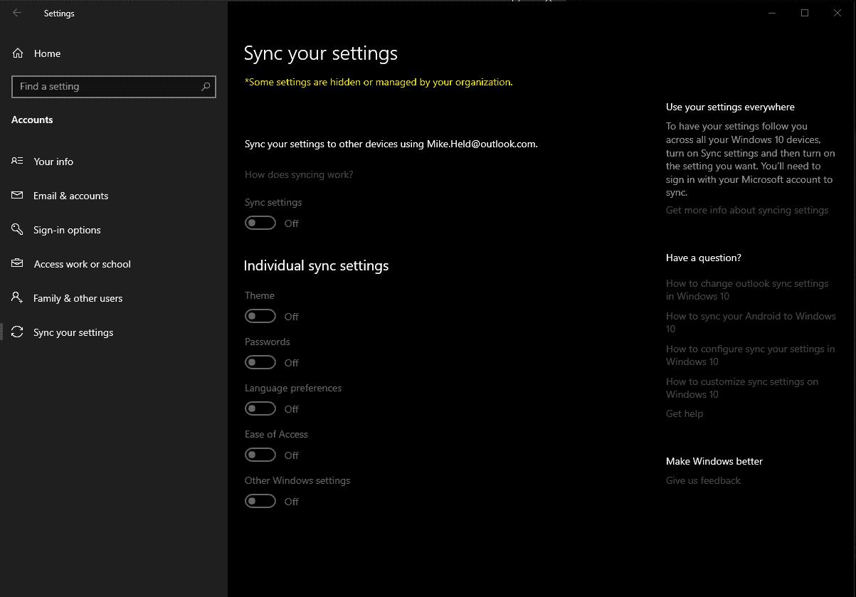"How do I fix ""Sync my Settings"" for Windows Themes? 77a6aa26-9a0d-461c-8b1b-67c0c93af540?upload=true.png"