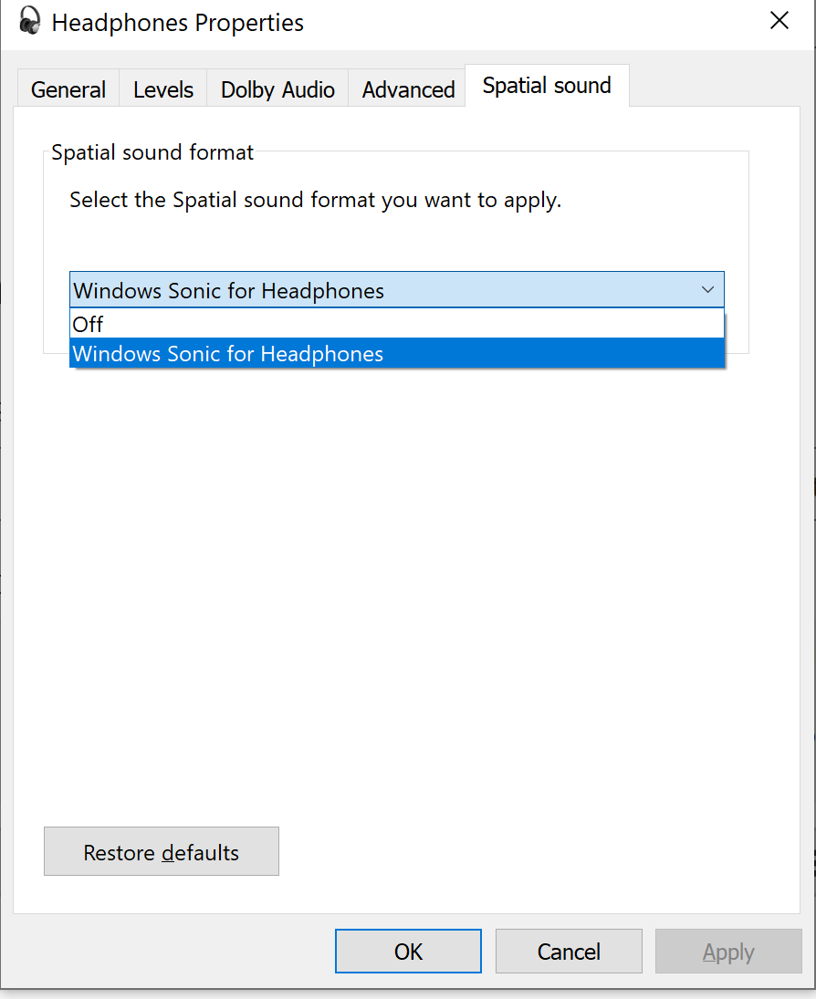 'Dolby Access for Headphones' options is not visible in spatial sound 7857588d-1ca7-4e13-81da-5345afa2a6d3?upload=true.png
