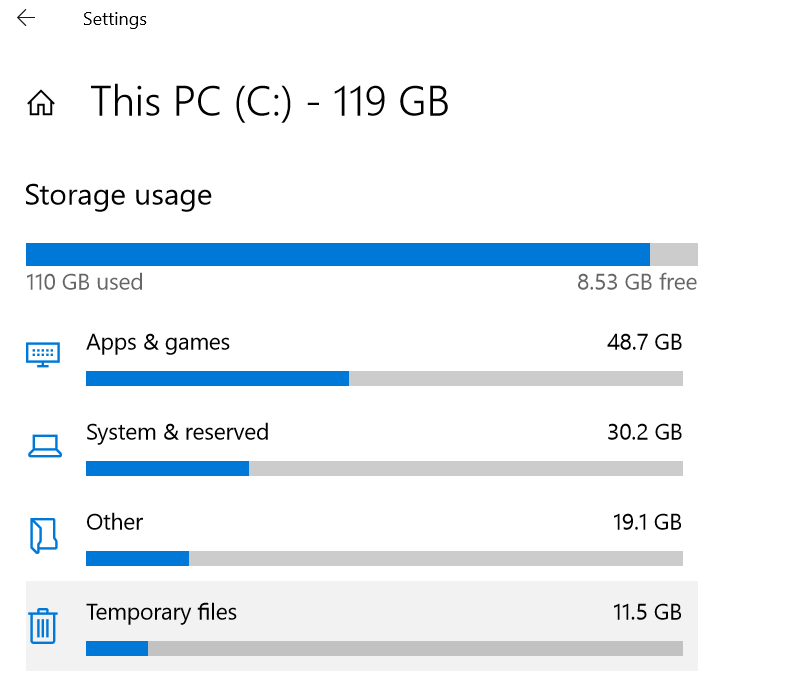 Windows shows two different Temporary files folder sizes 78823df7-cadc-4c41-a701-47d3d79da629?upload=true.png