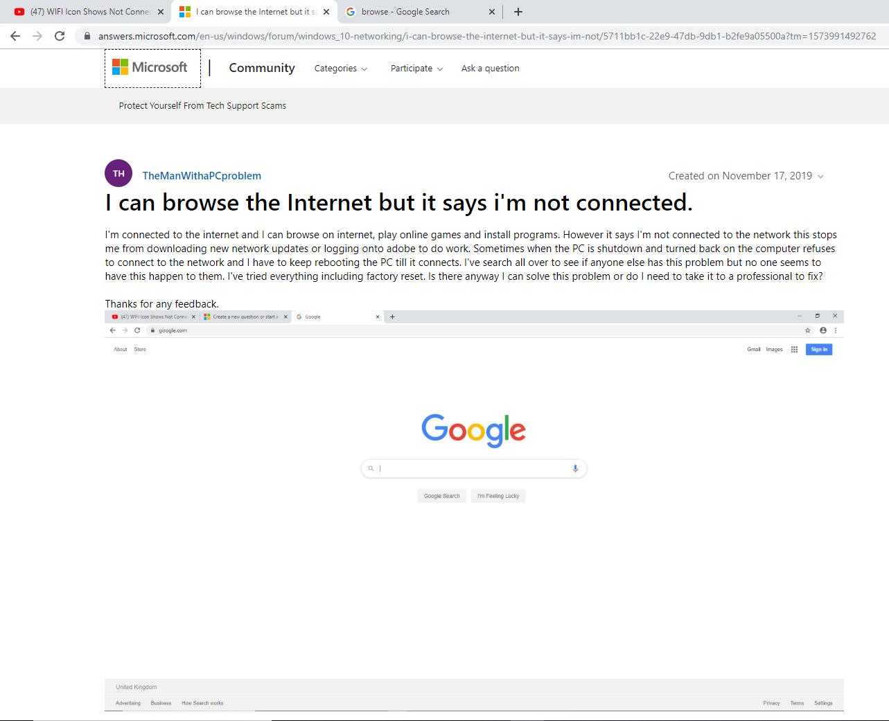 I can browse the Internet but it says i'm not connected. 78ae4774-8c02-4b67-aa3b-fbdb053e7c49?upload=true.png