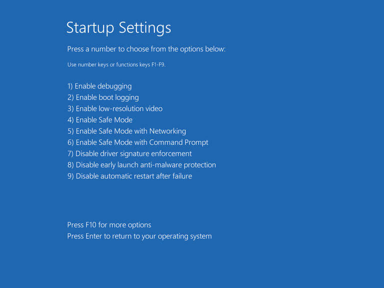 Windows startup settings menu shows and asks for action on each OS boot. 78c14e15-a7ef-45c9-9c8d-5c36a77b87ee.png