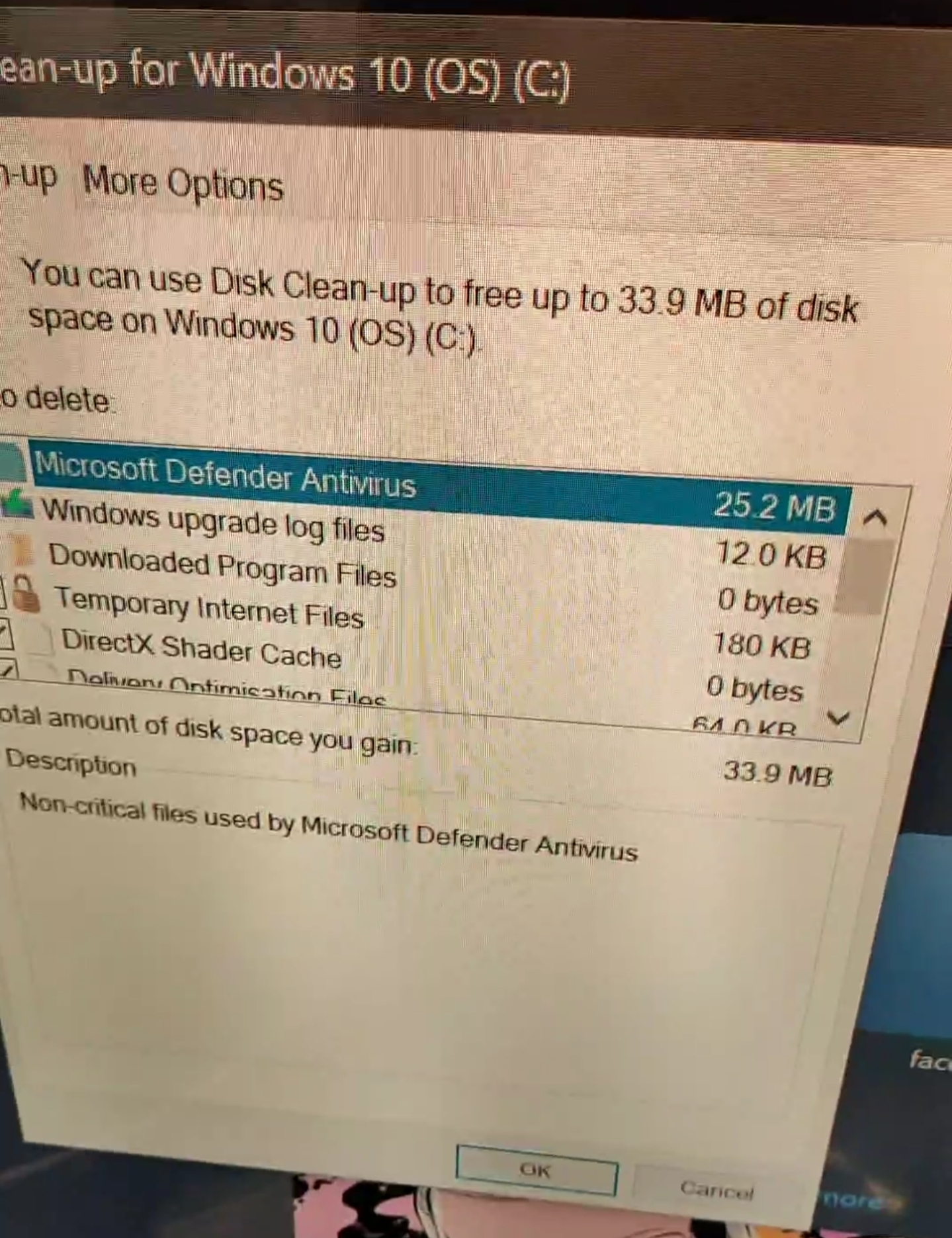 Disk cleanup is not cleaning Windows defender none critical files 791bd420-3fc8-4209-94c5-d74a53a5ffe1?upload=true.jpg