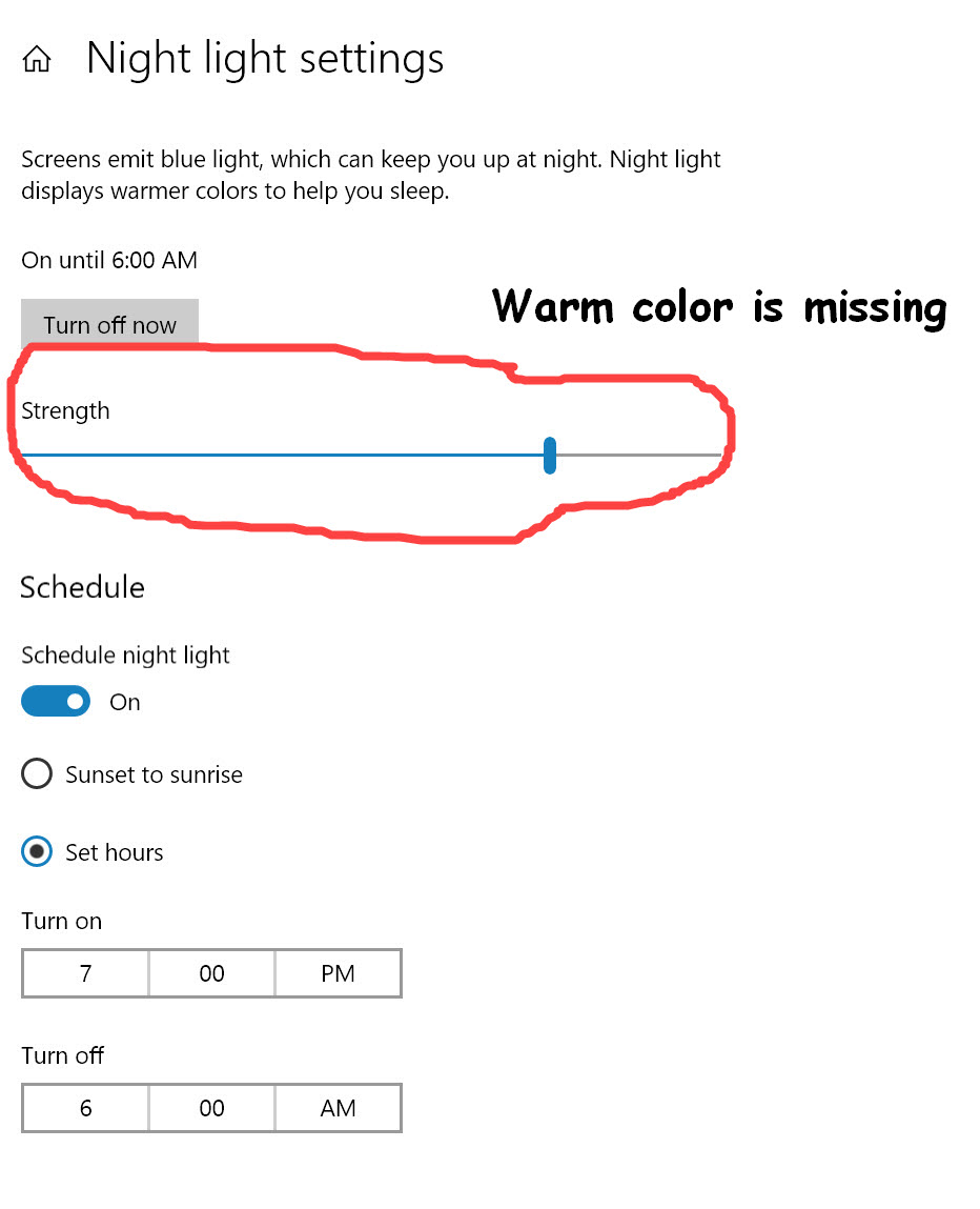 After updated 1903, Night Light is on and working but the system wont let it. 7a6a3238-71d0-4a5a-ab2f-e085374c2ad0?upload=true.jpg
