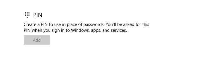Microsoft Account PIN Error