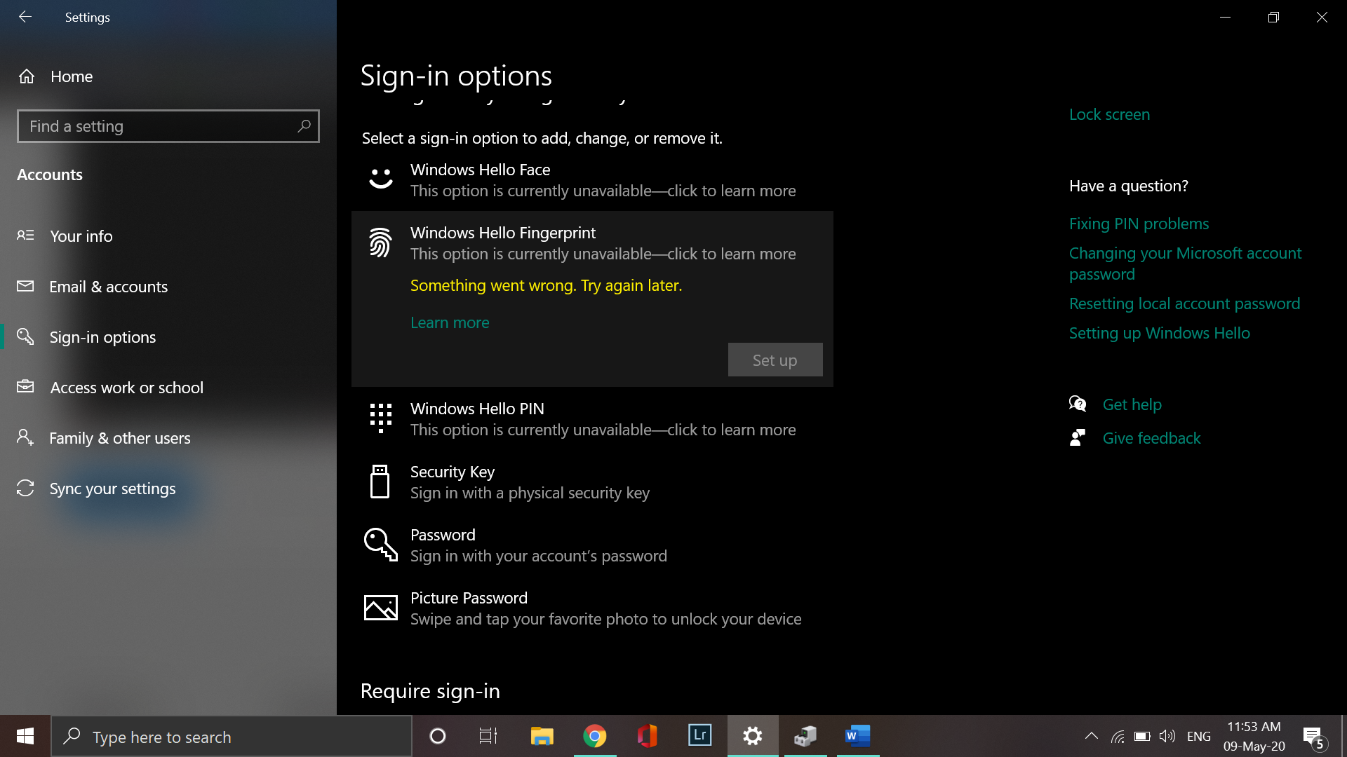 Windows Hello not working on Windows 10 1909 7fcd3af8-f8bc-4434-8c1d-0e9e566a9458?upload=true.png