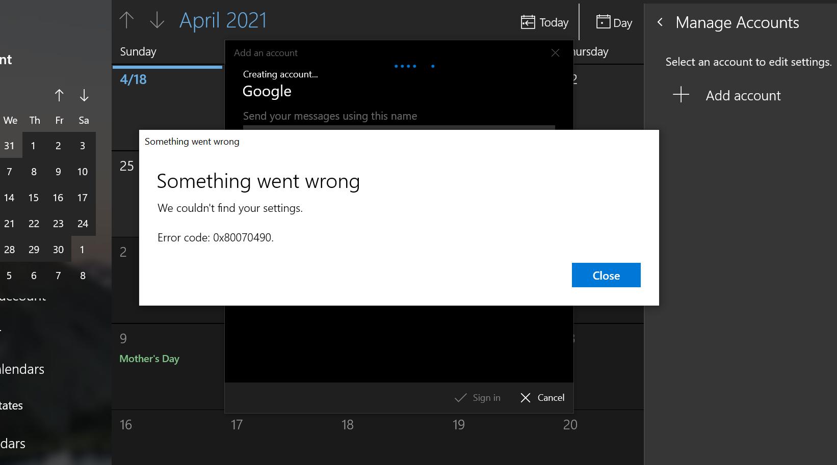 Unable to Connect Google Calendar to Windows 10 Calendar. Error code: 0x80070490 8396597b-6a0f-4e70-be63-91c34b80954c?upload=true.png