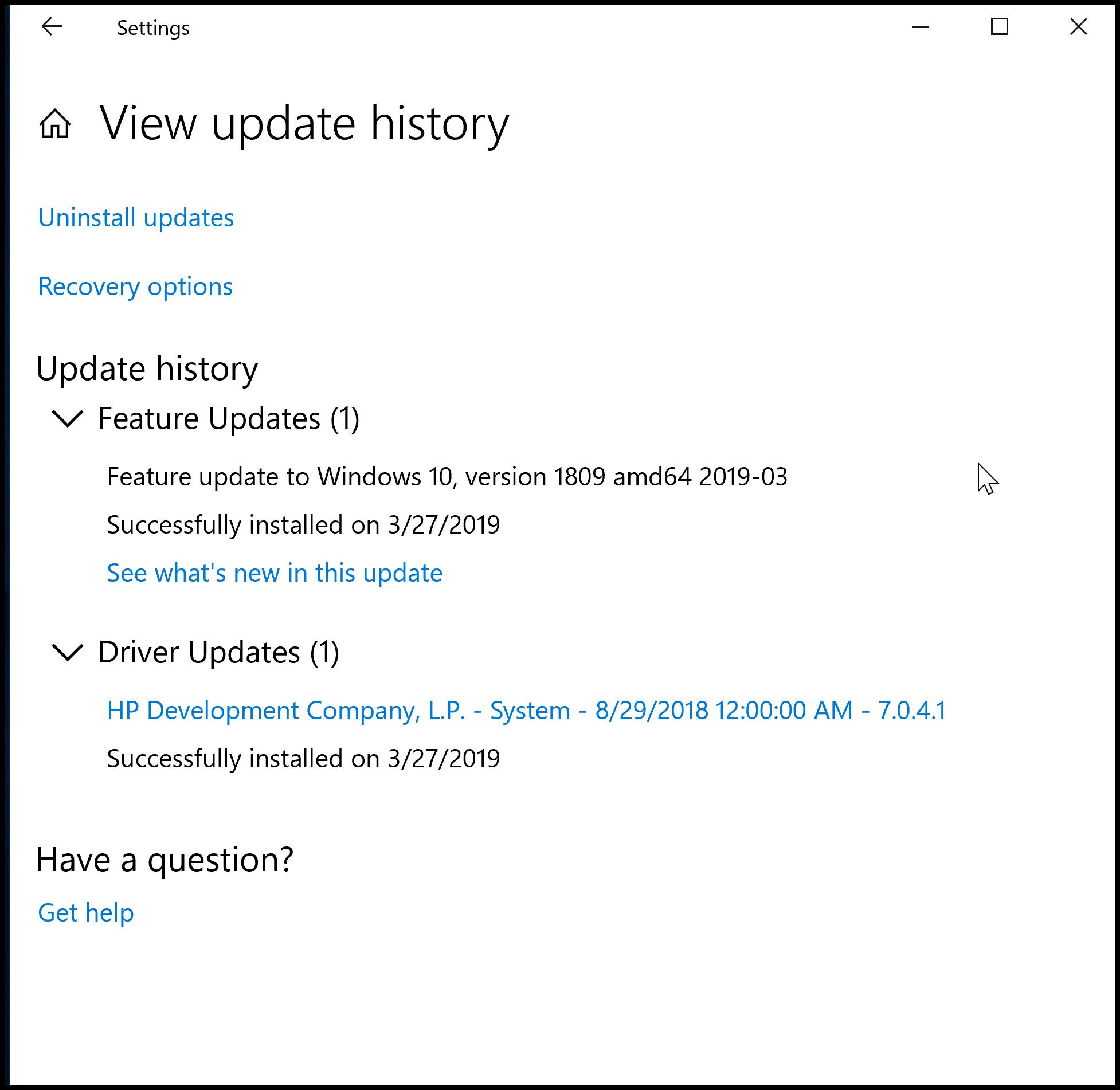 Feature update to Windows 10, version 1809 amd64 2019 03