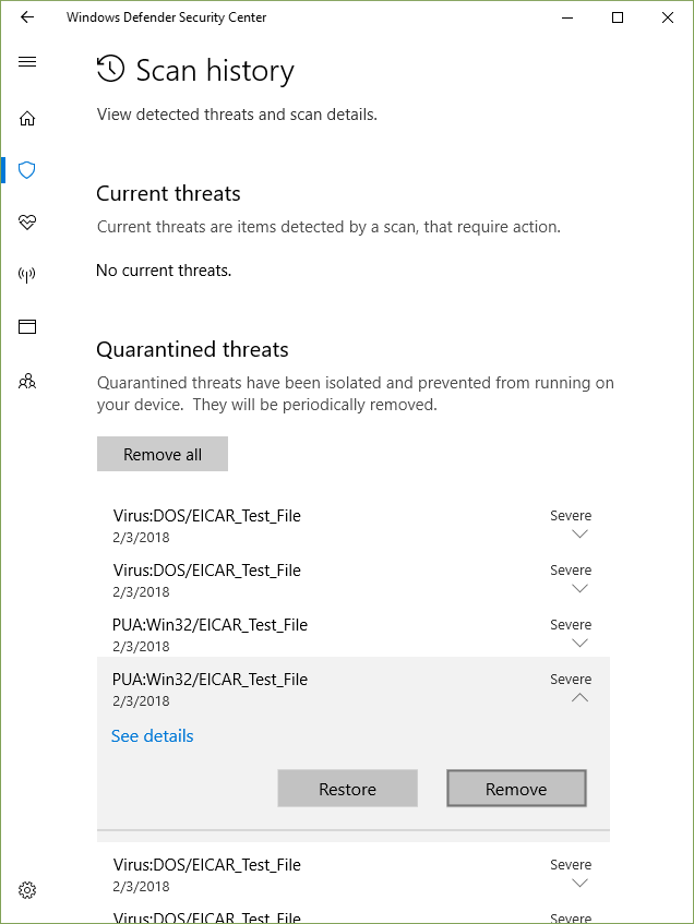No option to delete threats in Windows Defender quarantine. 8686d27f-54f5-439d-8412-be1278a2a283?upload=true.png