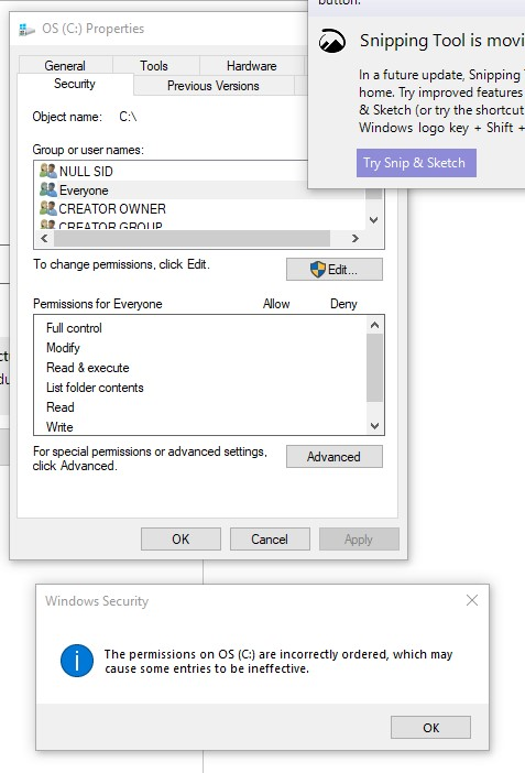 """windows security """"the permissions on OS (c:) are incorrectly ordered"""" 880a6f40-47c0-4488-9bbf-0ea94a7f0d5c?upload=true.jpg"""