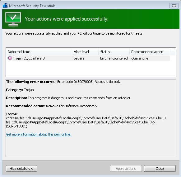 I have been infected with some sort of malware that Microsoft Security essentials cannot... 886f24ad-4df3-477d-a0c3-cd5322f01665?upload=true.png