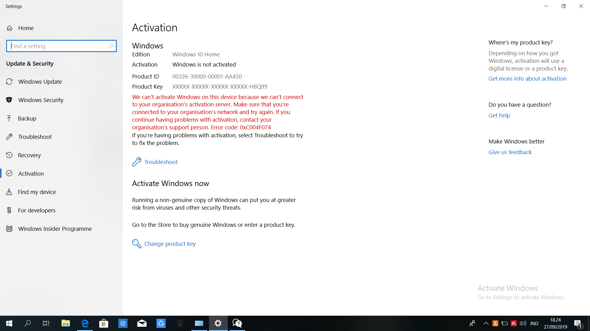 Hey can anybody help me to activate my windows 10 home? 8f9b83df-ca40-4f4f-86f2-2bc909dadad7?upload=true.png