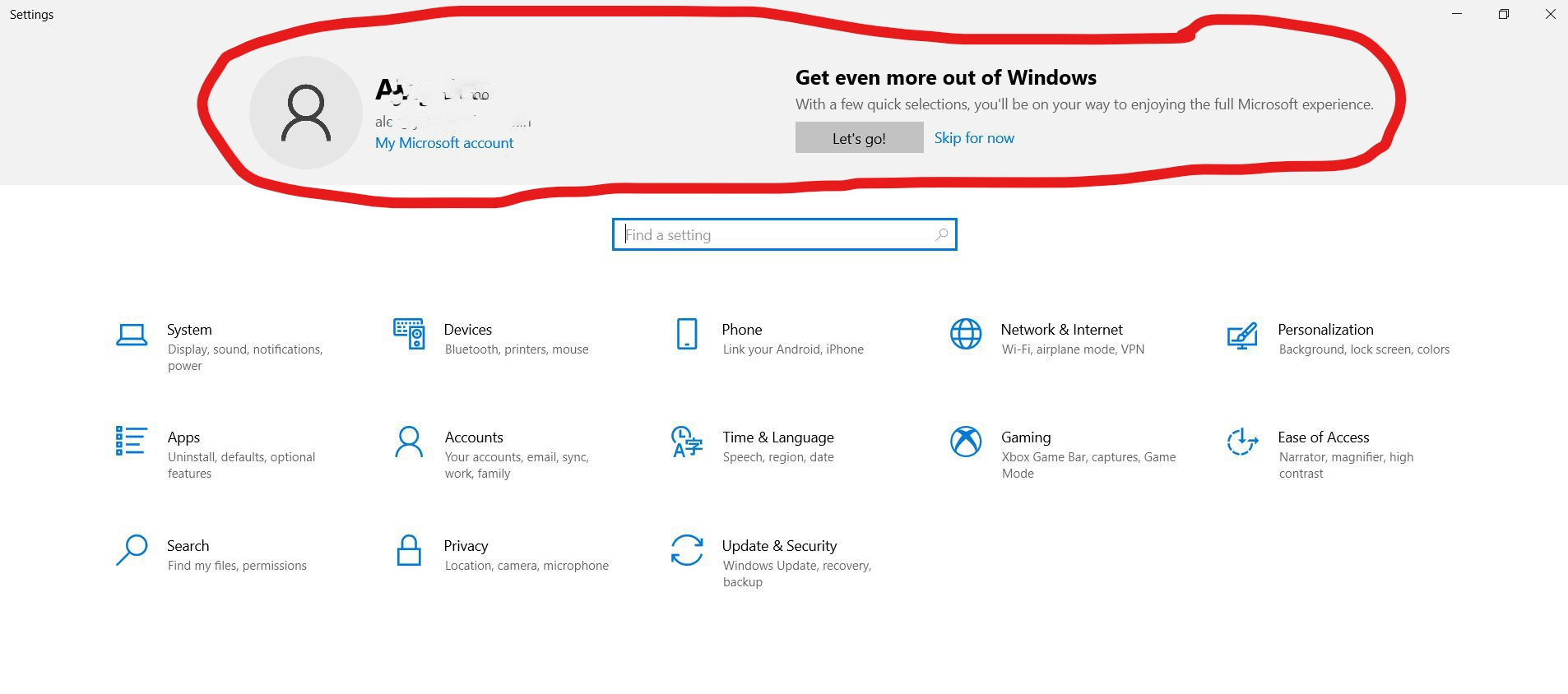 How to remove account details from the top of Windows 10 Settings 8ffcd54f-f2eb-481f-8630-78933b7ba71b?upload=true.jpg