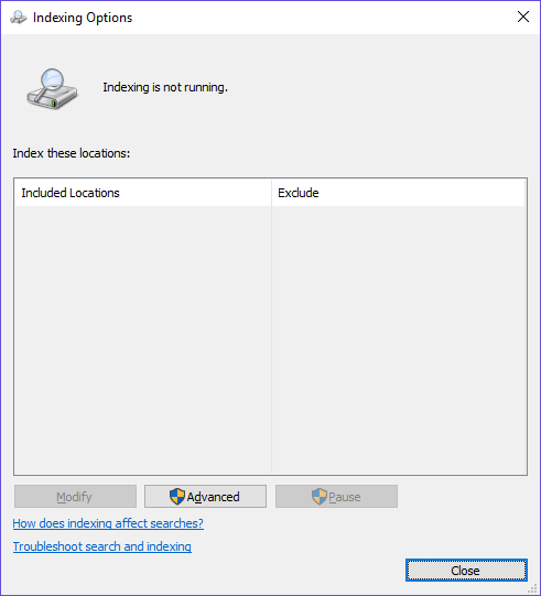 Indexing is turned off and wont come back. 90359a9b-3438-4cdc-bcbc-c0236190f699.png