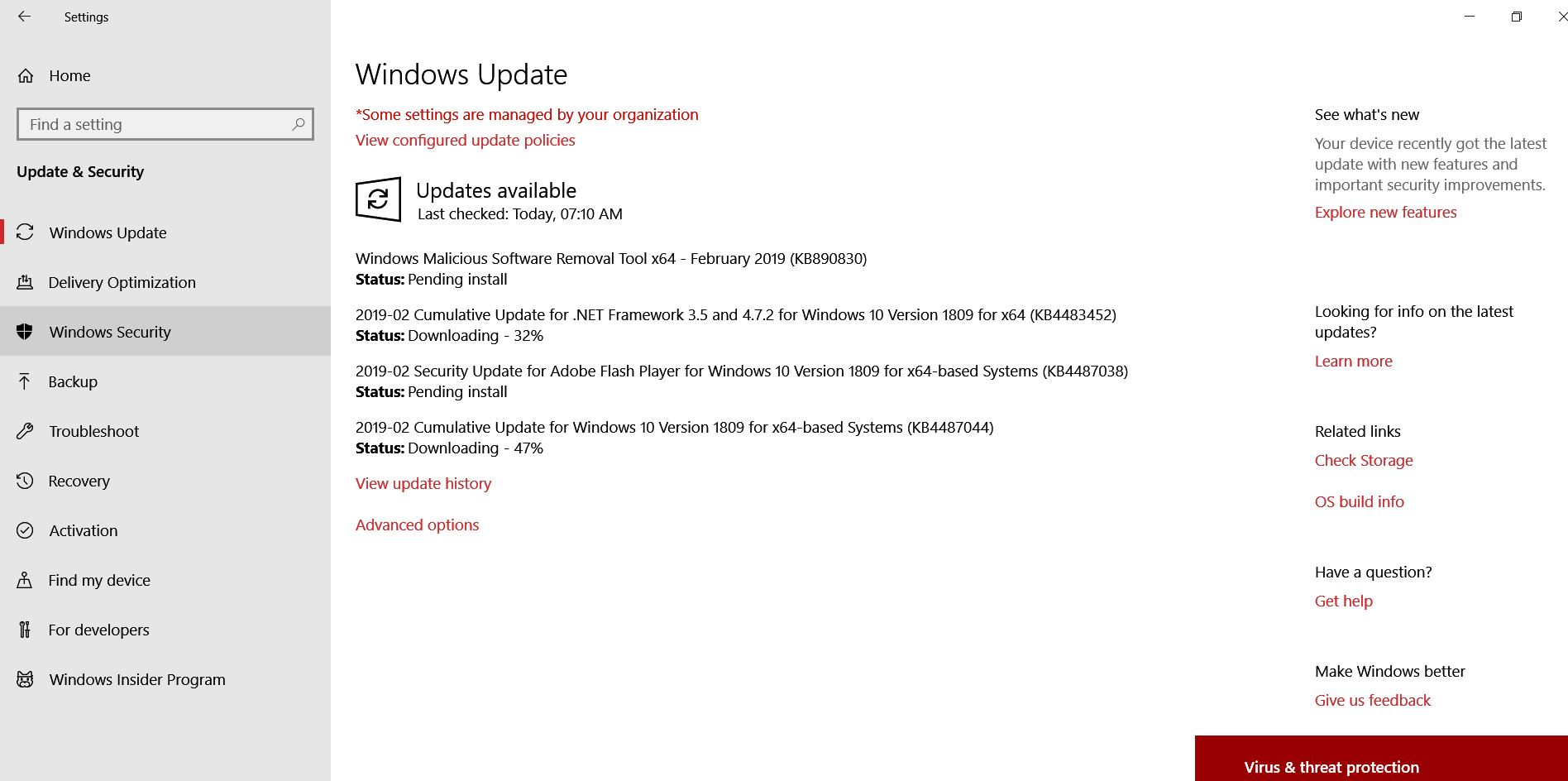 WINDOWS UPDATE RELEASED CLU KB4482887 TO WINDOWS 10 1809 AND