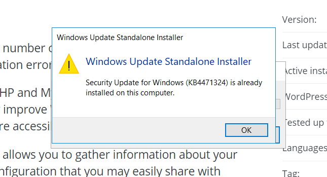 Unable to install (2018-12 Cumulative Update for Windows 10