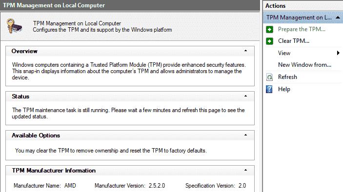 Windows Defender > Security Processor > Clear TPM multiple
