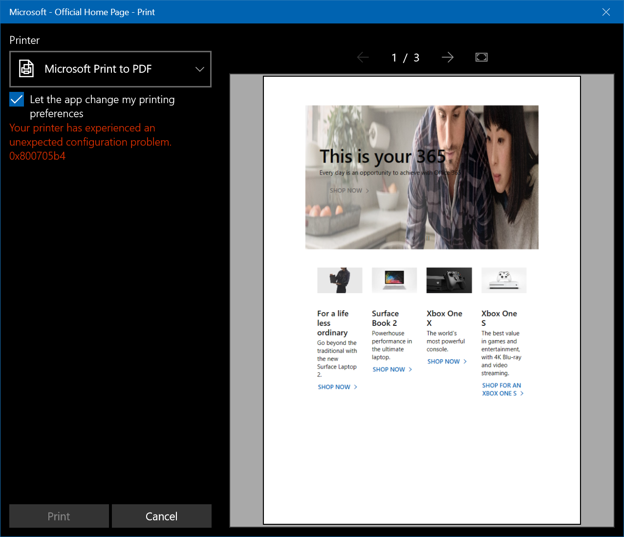 Printing Errors especially only on Microsoft Edge and