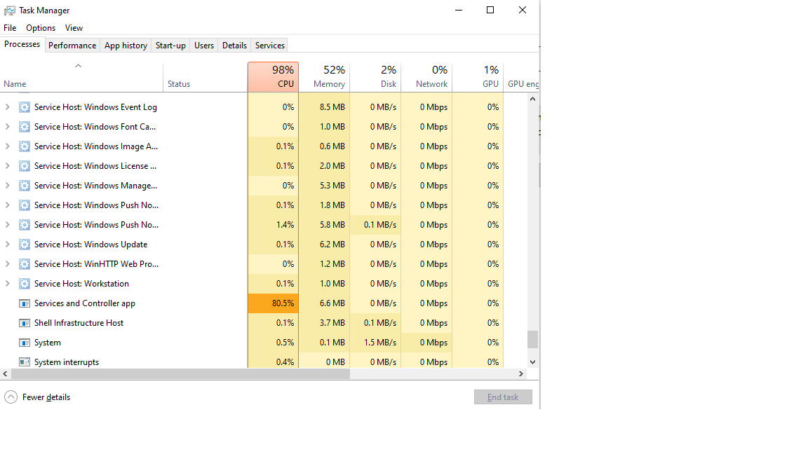 """High CPU >90% caused by """"Services and Controller App"""" 9863b468-51a8-4975-9c5a-d20ff2b851de?upload=true.png"""