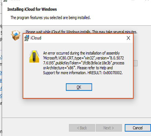 Error installing icloud for Windows on Surface Pro 6 98f1fa33-67ca-4e13-883d-c04032f34664?upload=true.png