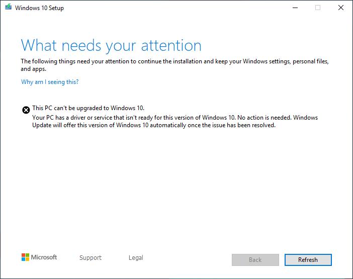 Error while update Windows 10 Pro Version 1903