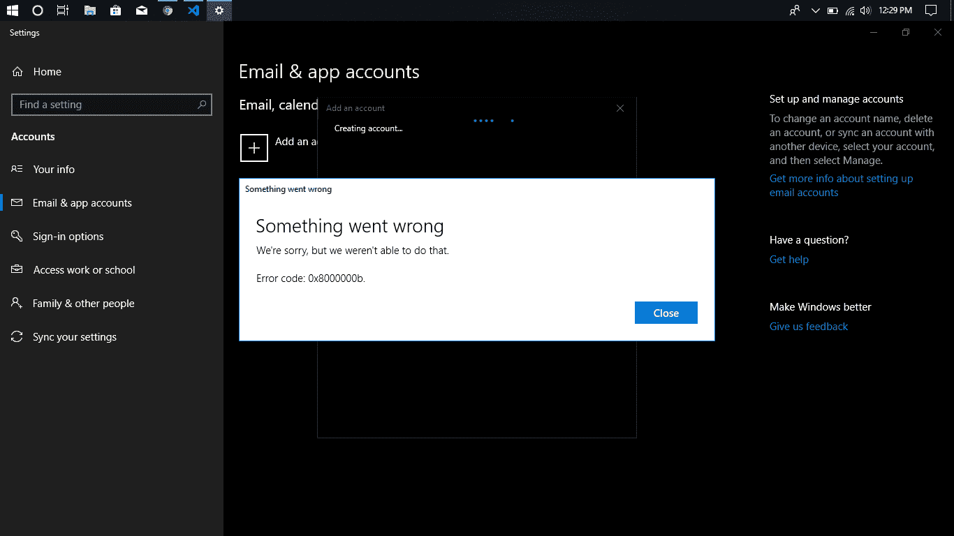 Getting error code when trying to login into my Google