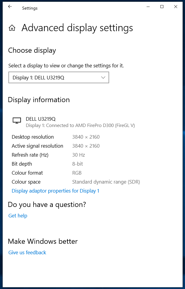 Windows 10 defaults to 8-bit color depth automatically. a037ca23-ac53-42b9-bba7-eefc6540f96b?upload=true.png