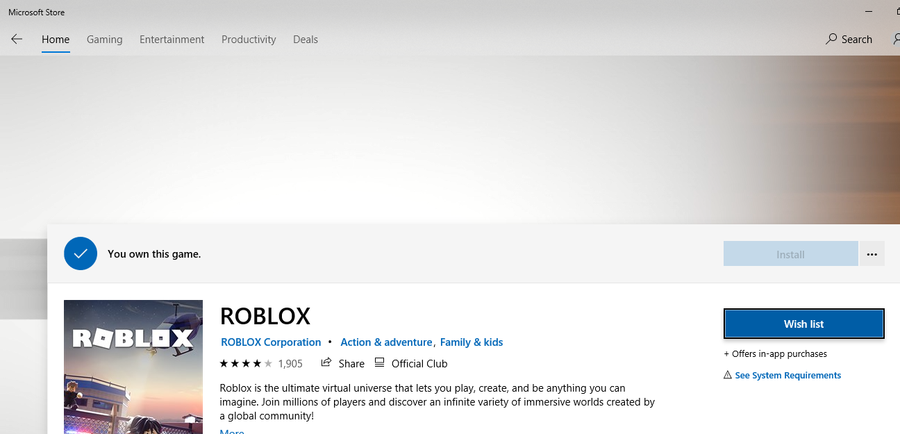 Roblox App On Windows Store Roblox Not Downloading From Microsoft Store