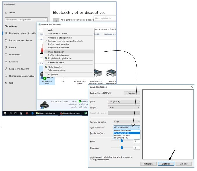 Windows 10 does not recognize the scanner for Epson L210