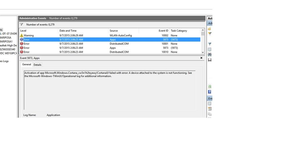 Jump lists not working and error in Event Viewer: