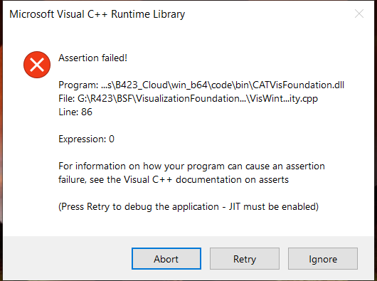 Microsoft Visual C++ Runtime Library Assertion failed error when using Dassault 3DExperience a58077af-58d8-4116-be90-6cd52318615b?upload=true.png