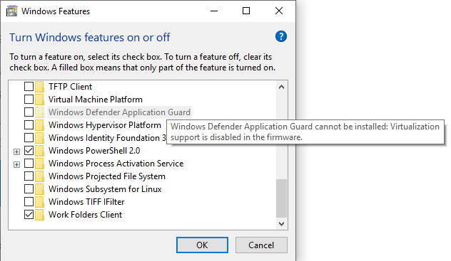windows defender cannot be installed virtualization support is disabled
