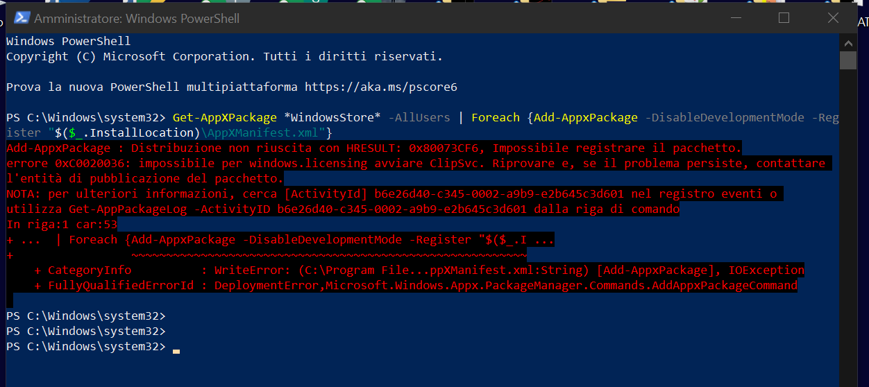i was installing microsoft store from powershell and i got an error what should i do now? afa00075-1e70-44fa-b91b-76462014520d?upload=true.png
