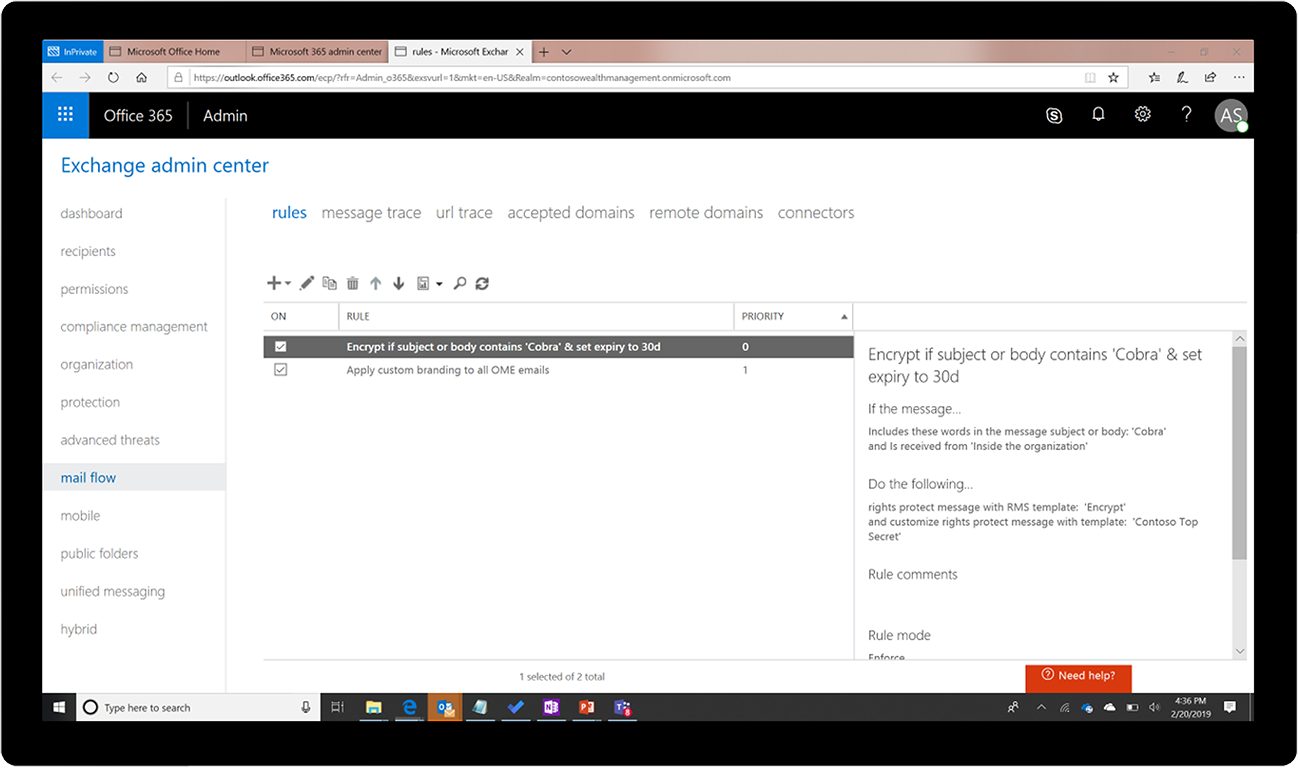 What is New to Microsoft 365 in April 2019 Apply-Expiry-through-mailflow-rule.png