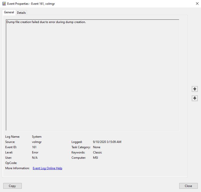 BSOD - volmgr 161, then Kernel-Power 41 b24d94ae-a820-416d-bd7f-2e190e53619d?upload=true.png