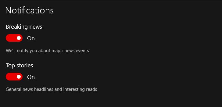 Since the latest Win10 update, Microsoft News app is no longer sending notifications b3266407-6ac2-45c7-b8db-80cba22433ee?upload=true.png
